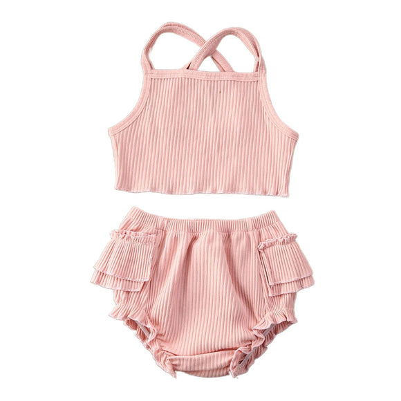 Ribbed ruffle bloomer & cop set - Pink