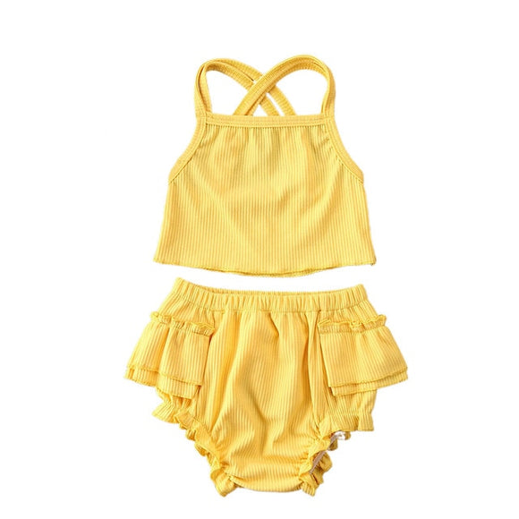 Ribbed ruffle bloomer & cop set - Yellow