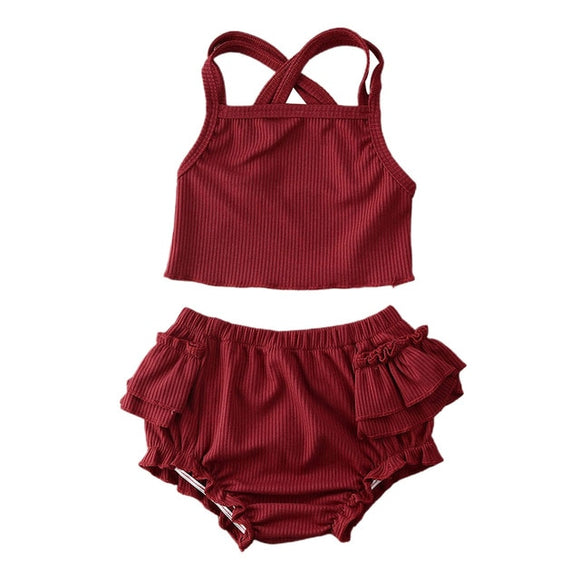 Ribbed ruffle bloomer & cop set - Burgundy