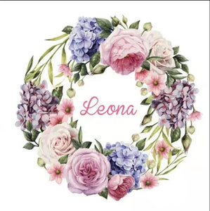 Personalised fluffy blanket - Floral wreath