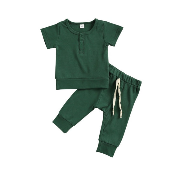 Harem pant & tee basic lounge set - Forrest Green