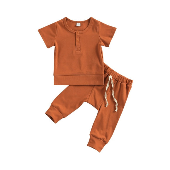 Harem pant & tee basic lounge set - Rust