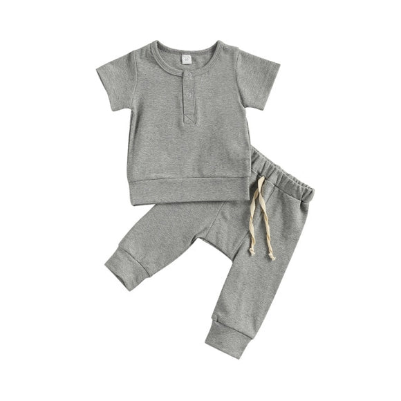 Harem pant & tee basic lounge set - Grey