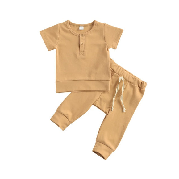 Harem pant & tee basic lounge set - Tan