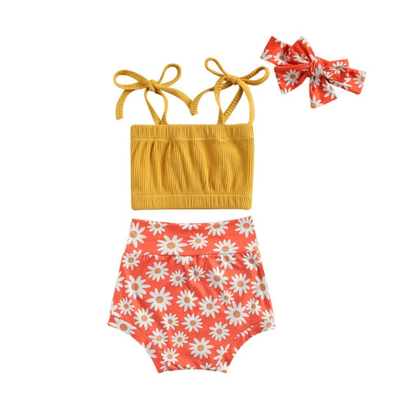 Ribbed floral 3 piece set - Daisy