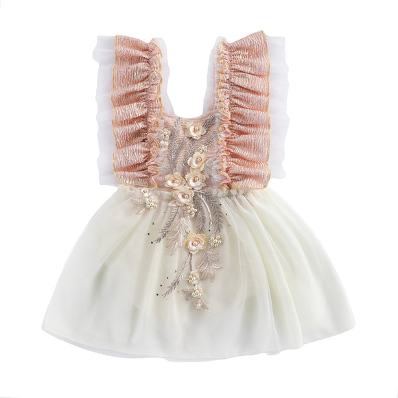 Embroided tutu dress cake smash - Peach