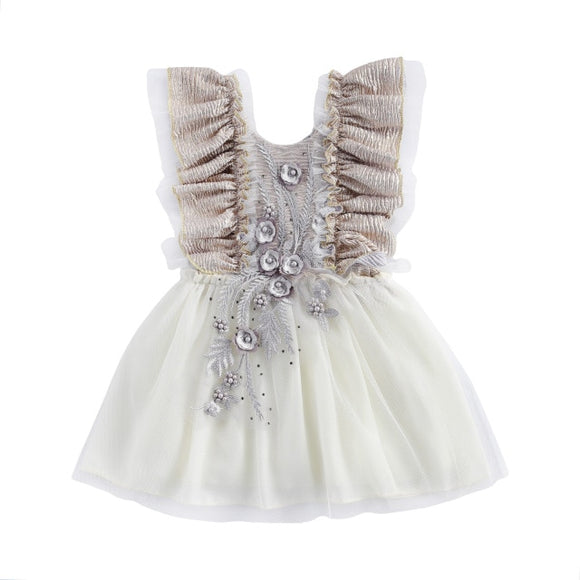 Embroided tutu dress cake smash - Silver