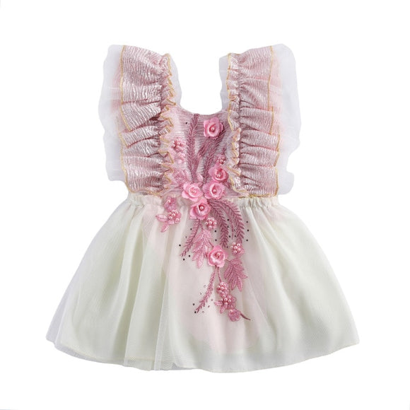 Embroided tutu dress cake smash - Pink