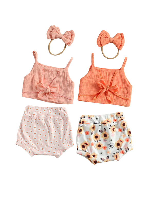 Tie front crop & Bloomer set - Daisy