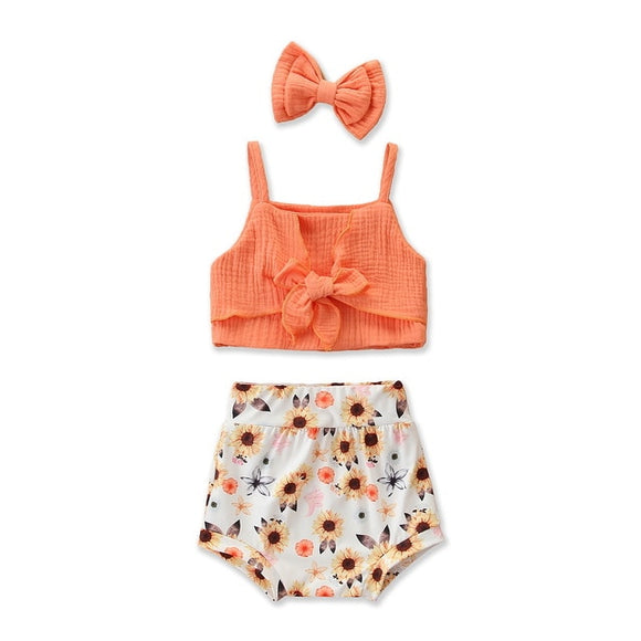 Tie front crop & Bloomer set - Sunflower