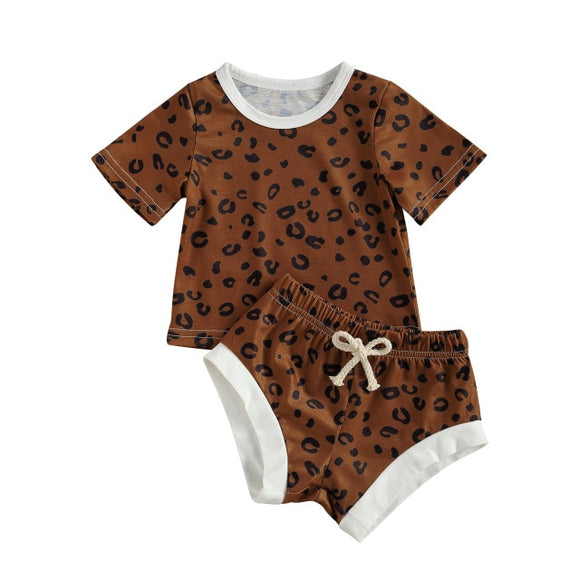 Cheetah tee and shortie set - Coffee