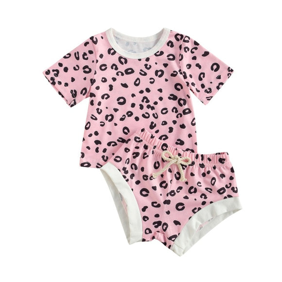 Cheetah tee and shortie set - Pink