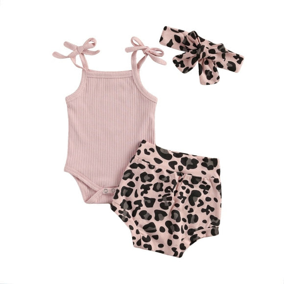 Tie ribbed singlet & Leopard bloomer headband set - Pink