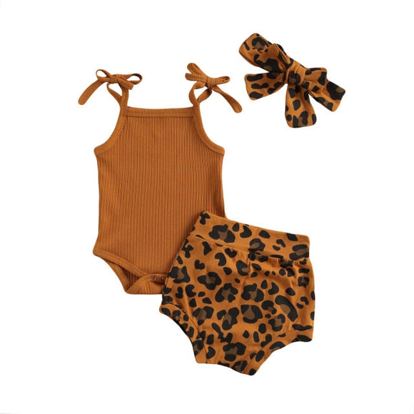 Tie ribbed singlet & Leopard bloomer headband set - Tan
