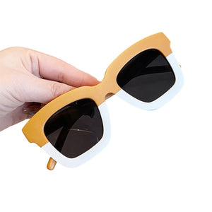 Square two tone kids sunglasses - Cream / Mustard