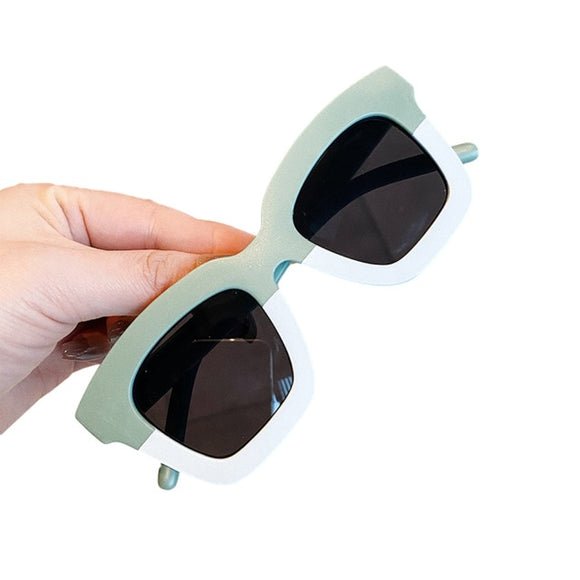 Square two tone kids sunglasses - Mint / Cream