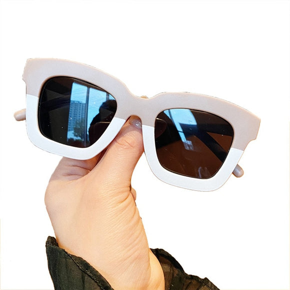 Square two tone kids sunglasses - Nude / Cream