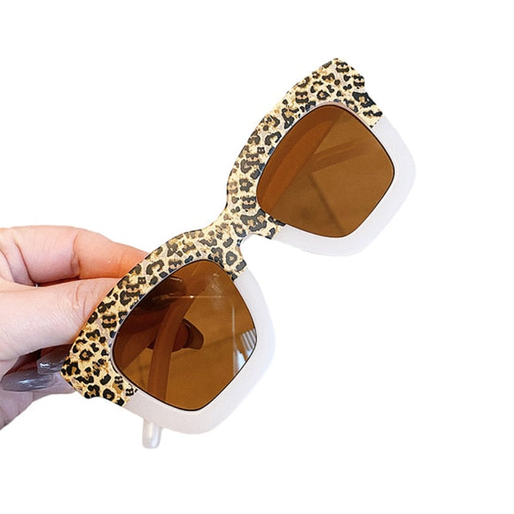 Square two tone kids sunglasses - Leopard / Cream