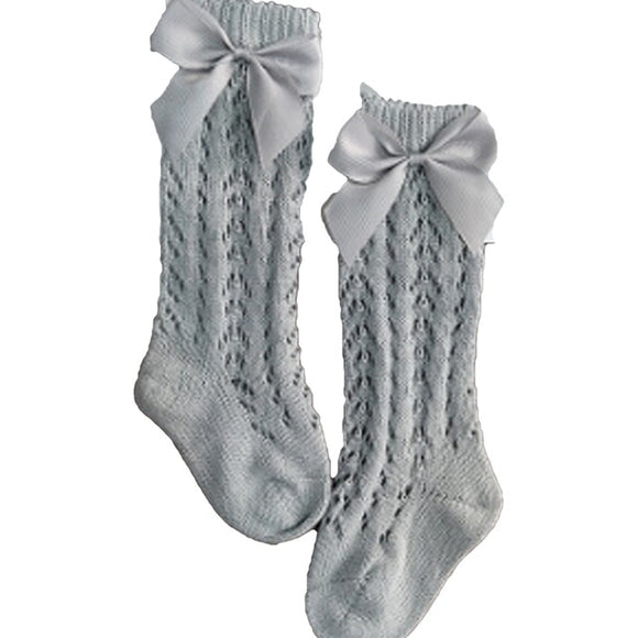 Bow Crochet socks - Blue