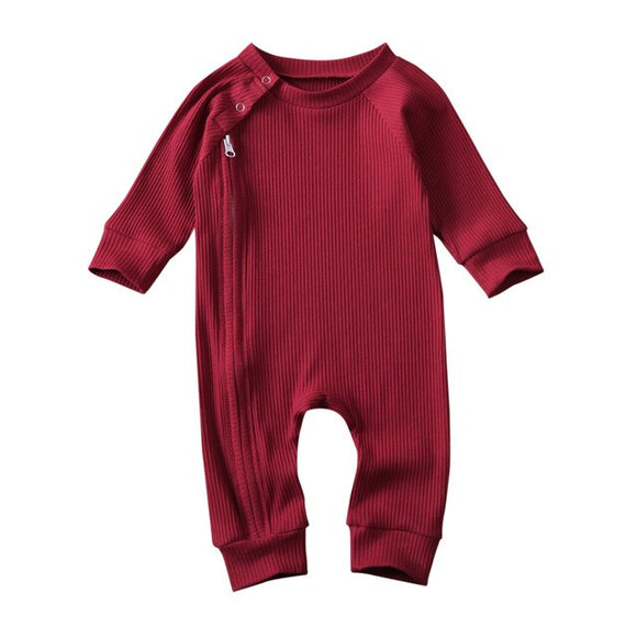 Ribbed winter zippy romper - Red