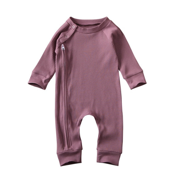 Ribbed winter zippy romper - Lilac