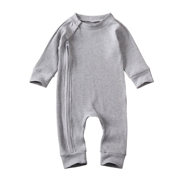 Ribbed winter zippy romper - Grey