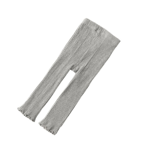 Ribbed Footless tights leggings - Light Grey