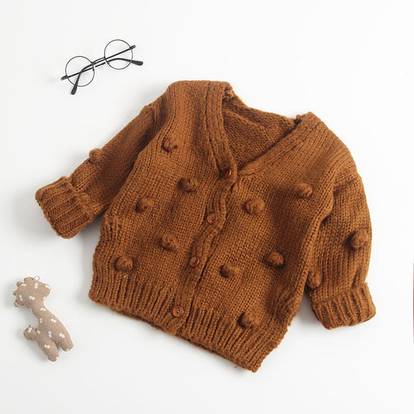 Knitted Pom Pom Cardigan - Rust - nixonscloset