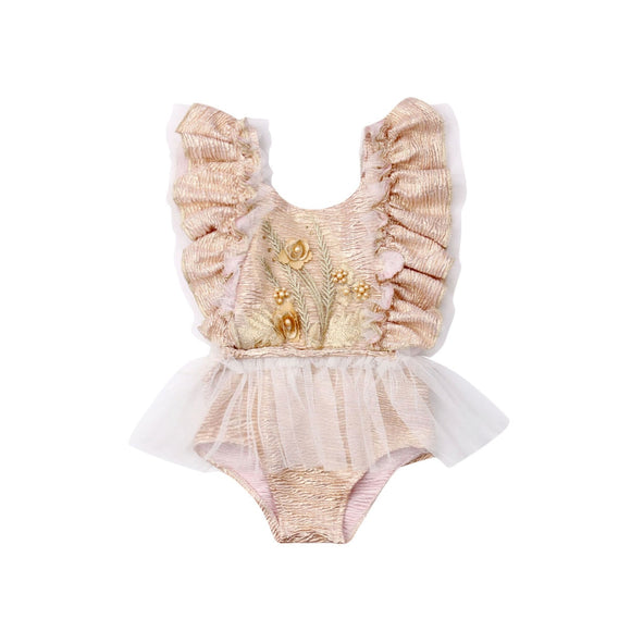 Embroided Tutu Romper - Beige - nixonscloset