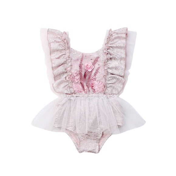Embroided Tutu Romper - Pink - nixonscloset