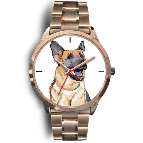German Shepherd Watch Rose Gold Metal Link
