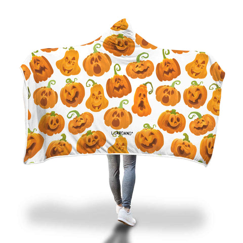 Halloween Smiling Pumpkin Hooded Blanket