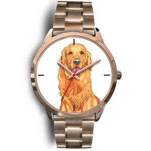 Golden Retriever Rose Gold Metal Link