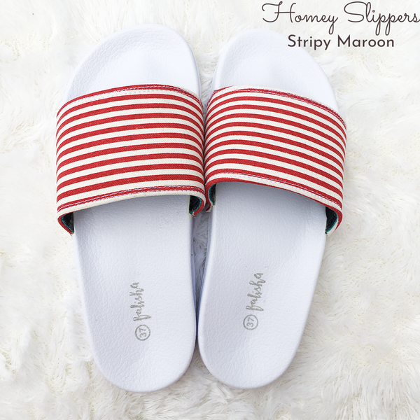 Homey Slippers - Stripy Maroon