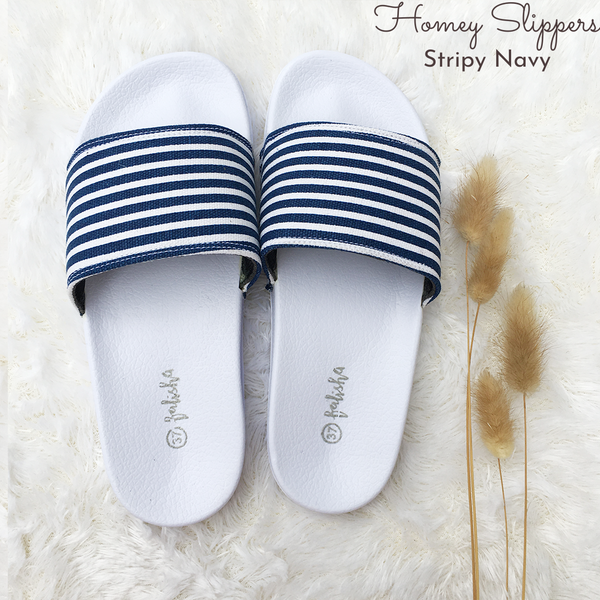 Homey Slippers - Stripy Navy