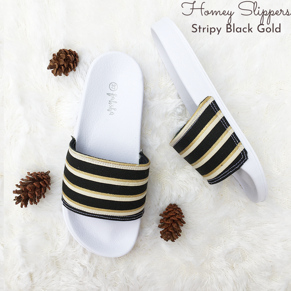 Homey Slippers - Stripy Black Gold