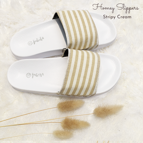 Homey Slippers - Stripy Cream