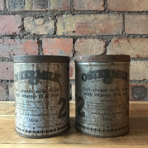 Pair of 1940s Baby's Milk Tins