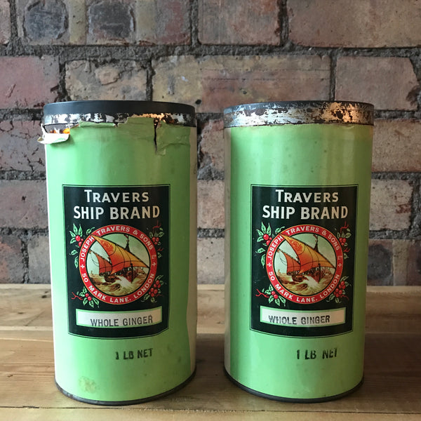 "Pair of ""Whole Ginger"" Vintage Tins"