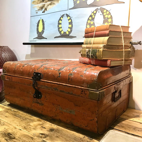 Large Metal Indian Vintage Trunk (Orange)