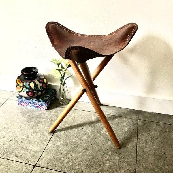 Vintage Leather Folding Stool