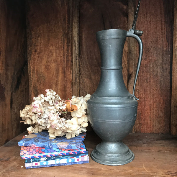 Large French Vintage Pewter Pitcher