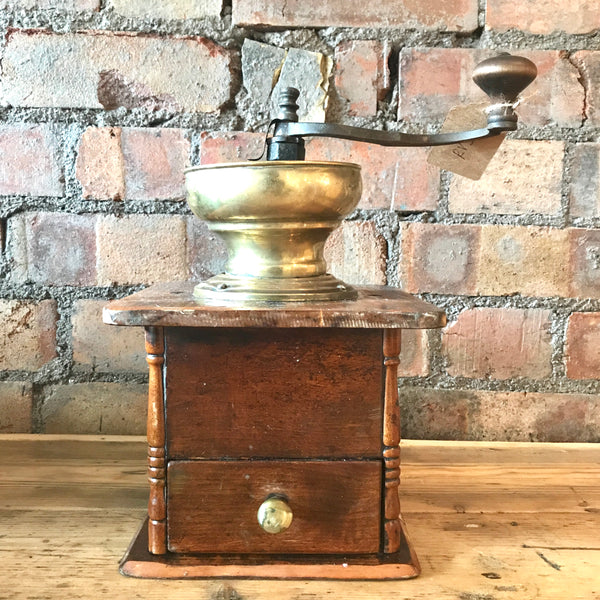 Large Vintage Coffee Grinder with Brass Top