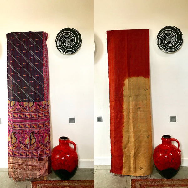 Double-Sided Silk Sari Table Runner (Pink and Ochre)