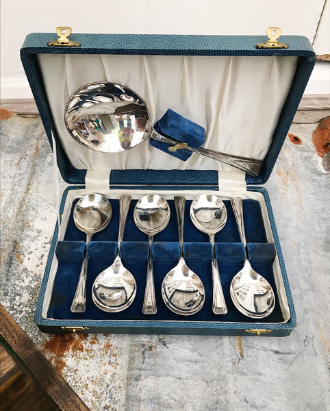 7-Piece Art Deco Dessert Spoon Set In Original Box