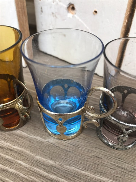 6 teeny coloured glasses