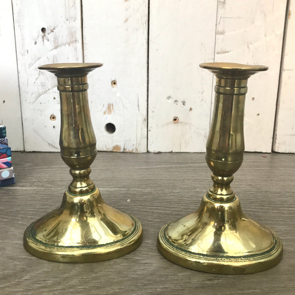 Small Vintage Brass Candlesticks