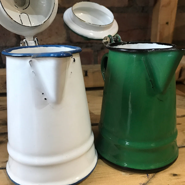 Pair of Little Vintage Enamel Jugs