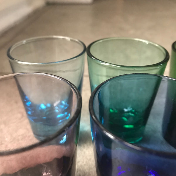 6 Mid Century Coloured Shot Glasses