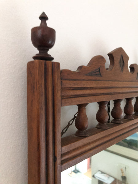 Victorian Wooden Wall Mirror with Shelf